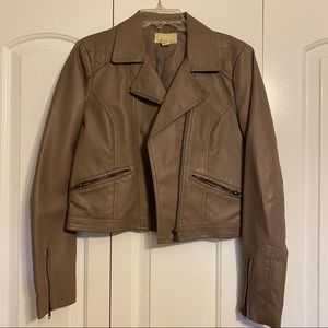Forever 21 tan leather jacket with zipper details